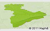 Physical Panoramic Map of Giurgiu, lighten