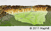 Physical Panoramic Map of Gorj, darken