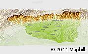 Physical Panoramic Map of Gorj, lighten