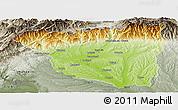 Physical Panoramic Map of Gorj, semi-desaturated
