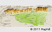 Physical Panoramic Map of Gorj, shaded relief outside