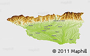 Physical Panoramic Map of Gorj, single color outside