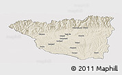 Shaded Relief Panoramic Map of Gorj, cropped outside