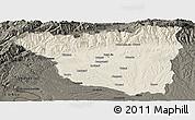 Shaded Relief Panoramic Map of Gorj, darken