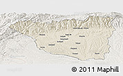 Shaded Relief Panoramic Map of Gorj, lighten