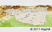 Shaded Relief Panoramic Map of Gorj, physical outside