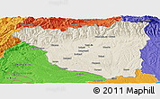 Shaded Relief Panoramic Map of Gorj, political outside