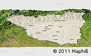 Shaded Relief Panoramic Map of Gorj, satellite outside
