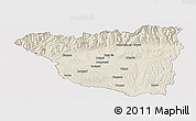 Shaded Relief Panoramic Map of Gorj, single color outside