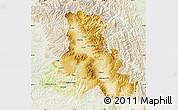 Physical Map of Harghita, lighten