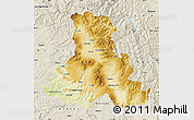 Physical Map of Harghita, shaded relief outside