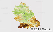 Physical 3D Map of Hunedoara, cropped outside