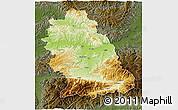 Physical 3D Map of Hunedoara, darken