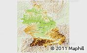 Physical 3D Map of Hunedoara, lighten