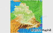 Physical 3D Map of Hunedoara, political outside