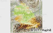Physical 3D Map of Hunedoara, semi-desaturated
