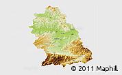 Physical 3D Map of Hunedoara, single color outside