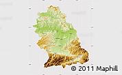 Physical Map of Hunedoara, cropped outside