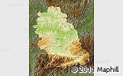 Physical Map of Hunedoara, darken