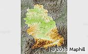 Physical Map of Hunedoara, darken, semi-desaturated