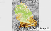 Physical Map of Hunedoara, desaturated