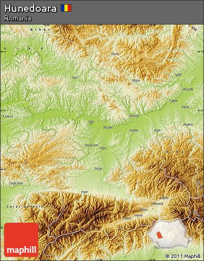 Physical Map of Hunedoara
