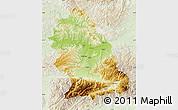 Physical Map of Hunedoara, lighten