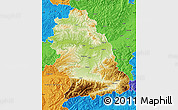 Physical Map of Hunedoara, political outside