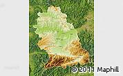 Physical Map of Hunedoara, satellite outside