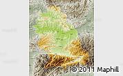 Physical Map of Hunedoara, semi-desaturated