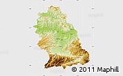 Physical Map of Hunedoara, single color outside