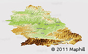 Physical Panoramic Map of Hunedoara, cropped outside