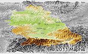Physical Panoramic Map of Hunedoara, desaturated