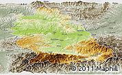 Physical Panoramic Map of Hunedoara, semi-desaturated