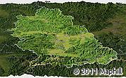 Satellite Panoramic Map of Hunedoara, darken