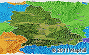 Satellite Panoramic Map of Hunedoara, political outside