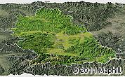 Satellite Panoramic Map of Hunedoara, semi-desaturated