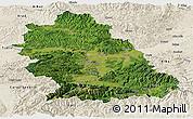 Satellite Panoramic Map of Hunedoara, shaded relief outside