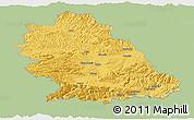 Savanna Style Panoramic Map of Hunedoara, single color outside