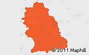 Political Simple Map of Hunedoara, single color outside