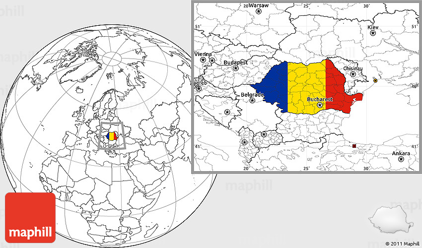 Flag Location Map of Romania, blank outside