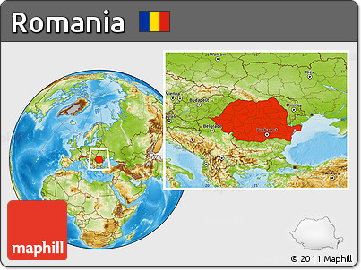 Free Physical Location Map of Romania