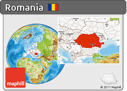 Free Physical Location Map of Romania, highlighted continent