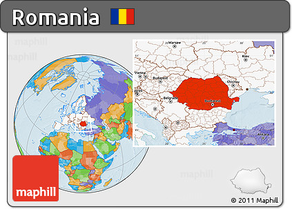 Free Political Location Map of Romania, highlighted continent