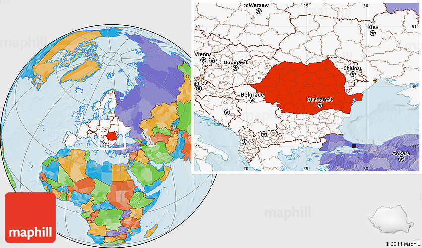Political Location Map Of Romania Highlighted Continent