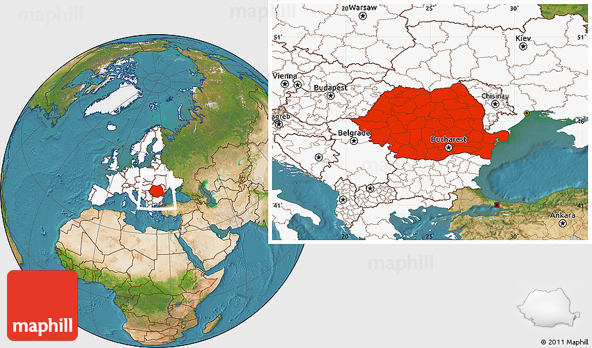 Satellite Location Map of Romania, highlighted continent
