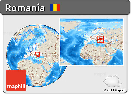 Free Shaded Relief Location Map of Romania, highlighted ...