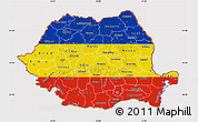 Flag Map of Romania, flag rotated