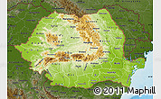 Physical Map of Romania, darken, land only