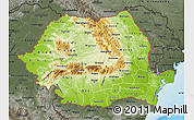 Physical Map of Romania, darken, semi-desaturated, land only